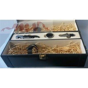 Cutie cu 2 compartimente pentru sticle vin cu accesorii