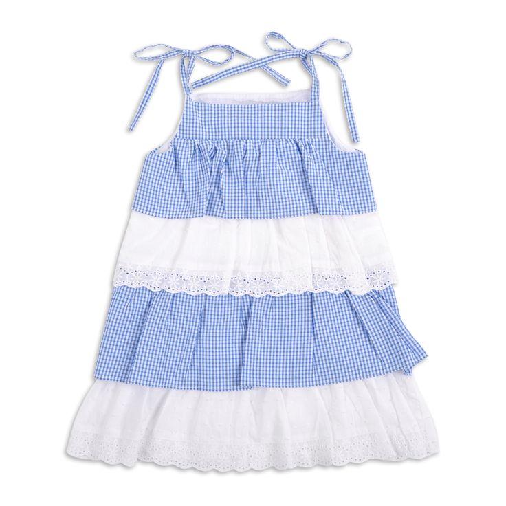Vestido EPK para niña de capas color azul y tiras bordadas color blanco