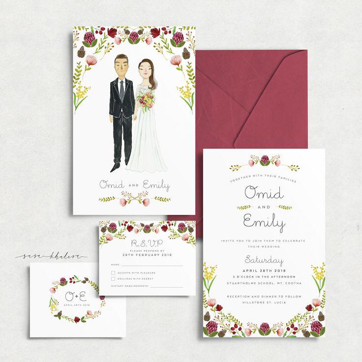 Custom illustrated wedding invitation suite