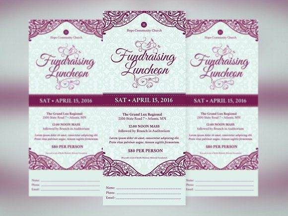 Fundraising Luncheon Ticket Template by Godserv Graphics on @creativemarket