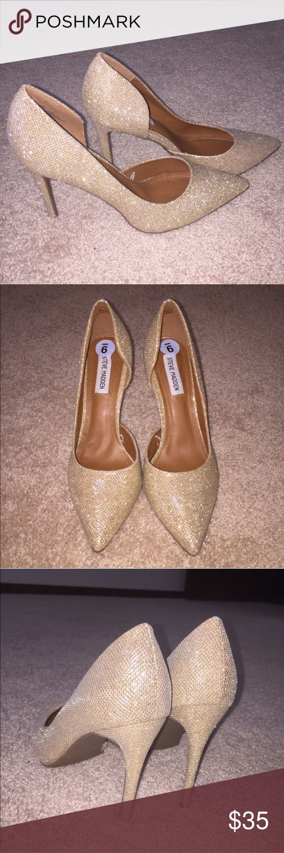 """Gold Sparkle Steve Madden Pumps Stunning brand new Steve Madden Pumps! Never worn get gorgeous 3"""" heels. Steve Madden Shoes Heels"""