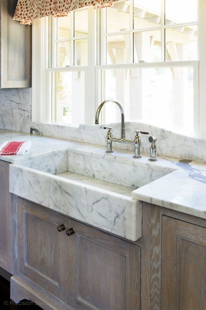 Natural Stone White Farm Style Kitchen Sink And Wood Cabinets