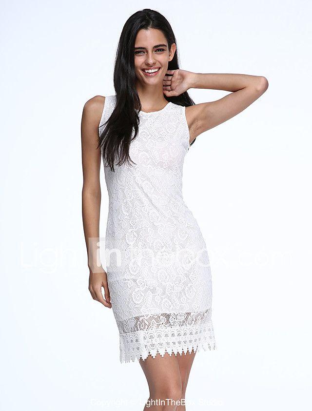 3208802cf Mujer Corte Bodycon Vestido Fiesta Cóctel Escote Redondo Hasta la Rodilla  Sin Mangas Blanco