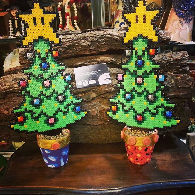 Christmas trees hama mini  beads by thecurlyhill