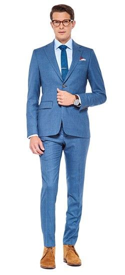 Go beyond standard navy with the Paris Blue Melange Weave Suit. A subtle variance in the dying of its threads gives depth to the fabric's appearance while retaining the versatility of a solid colored suit.