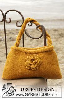 DROPS Felted bag with crochet flower in Alaska. ~ DROPS Design (Pattern for flower at the bottom)