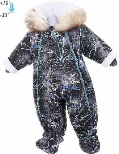 Pramsuits for newborn by Pilguni® collection STREET. Color black. * Length: size 62- 78 cm size 68- 84 cm size 74- 90 cm size 80- 96 cm size 86- 102 cm * With the help of zipper overall easily turns into a sleeping bag. * Dyed natural raccoon has a European certificate SAGA FURS. * Decorative buttons from leading world manufacturer YKK®. * Temperature range from -30C to + 10C. * Note! Information regarding the temperature conditions, is for reference purposes. The degree of insulation also…