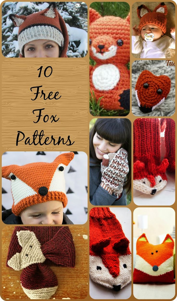 10 free knit and crochet fox patterns. Scarf, mittens, gloves, hat, socks.
