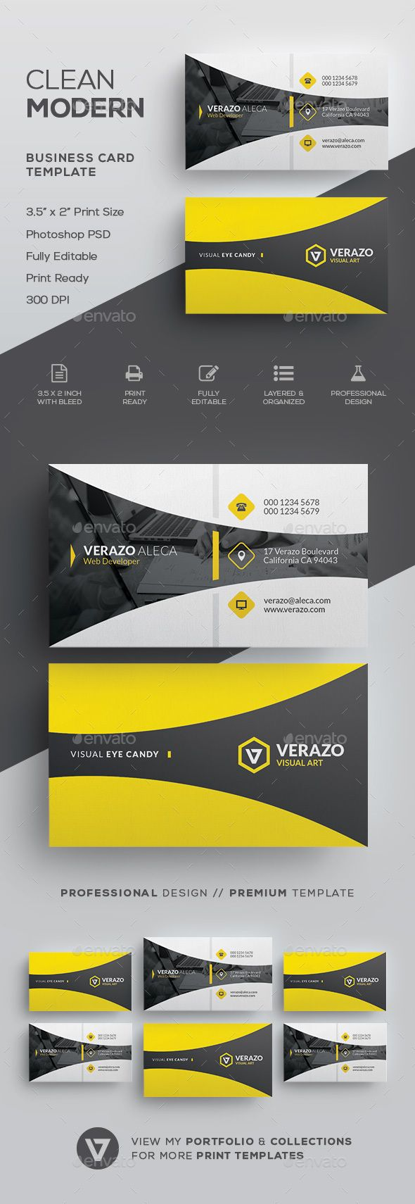 Clean Modern Business Card Template - Corporate Business Cards Download here : g...