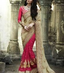 Buy cream embroidered brasso saree with blouse bollywood-saree online