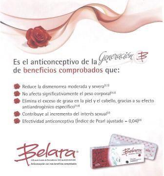 Belara es una píldora anticonceptiva desarrollada por el Laboratorios Grünenthal, y es una de las anticonceptivas con más beneficios comprobados.  Esta píldora anticonceptiva tiene dos beneficios fundamentales: seguridad y belleza, ya que por un lado es un producto confiable y por otro lado, satisface las necesidades de la mujer.  Belara es una píldora anticonceptiva que tiene índices