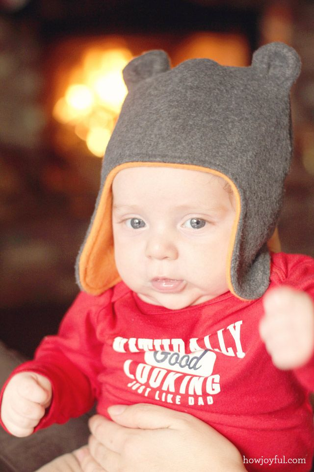 Baby hat with teddy bear ears – Tutorial and pattern
