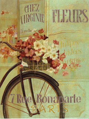 French flower basketsVintage Posters, Vintage Flower, Bicycles, Parisians Chic, Bikes, Flower Baskets, Art, Colors Palettes, Vintage Design