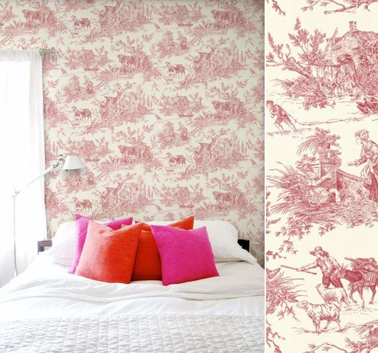 57 best images about toile de jouy on pinterest vintage luggage wallpape - Papier peint toile de jouy rouge ...