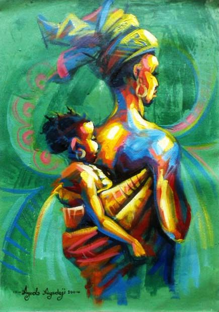 Motherly care painting by Ayeola Ayodeji.