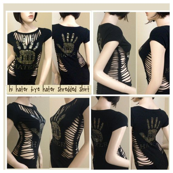 Reconstructed custom cut up shredded distressed slashed sexy punk goth rock shirt
