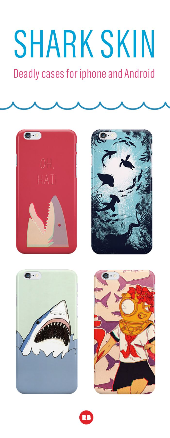 Cases...they're sort of like a shark cage for your phone. Keep your device safe from bloody waters with a shark-inspired case from Redbubble. Find thousands of deadly designs all made by artists. #sharkweek
