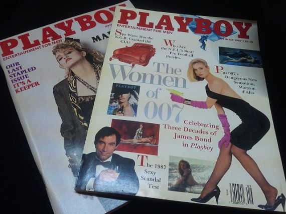 Playboy magazines by MinaLucinda on Etsy Madonna and 007 James Bond!