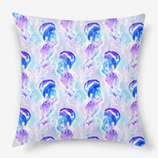 Подушка Акварельные медузы, Автор: Татьяна Комарова, Цена: 1250 р.
