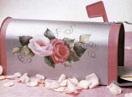 Tole roses on mailbox | tole and decorative painting books patterns epatterns stencils and ...