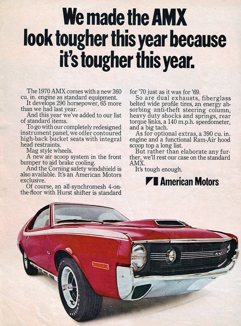 1970 American Motors AMX Ad. ★。☆。JpM ENTERTAINMENT ☆。★。