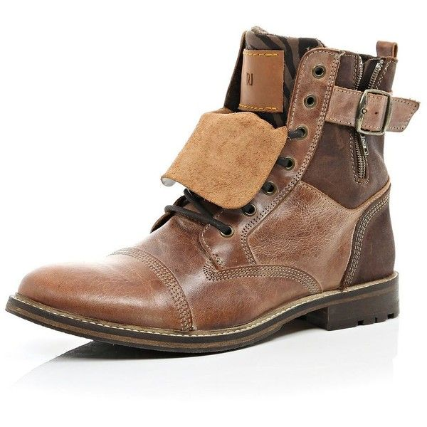 River Island Brown leather distressed boots ($46) ❤ liked on Polyvore featuring men's fashion, men's shoes, men's boots, sale, mens distressed leather boots, mens brown boots, mens leather shoes, mens leather buckle boots and mens buckle boots