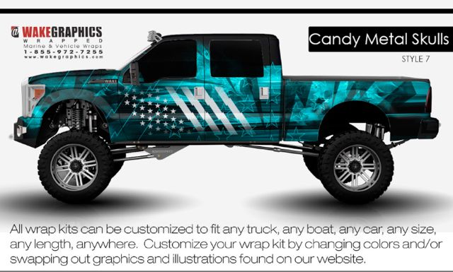 Candy Metal Skulls Style 7 Truck Wraps Graphics Car Wrap Trucks