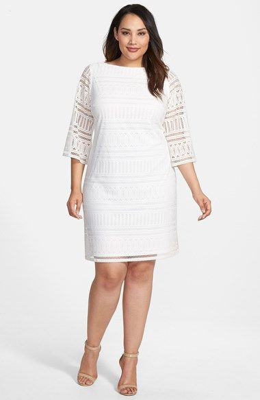 London Times Eyelet Knit Shift Dress (Plus Size) available at #Nordstrom