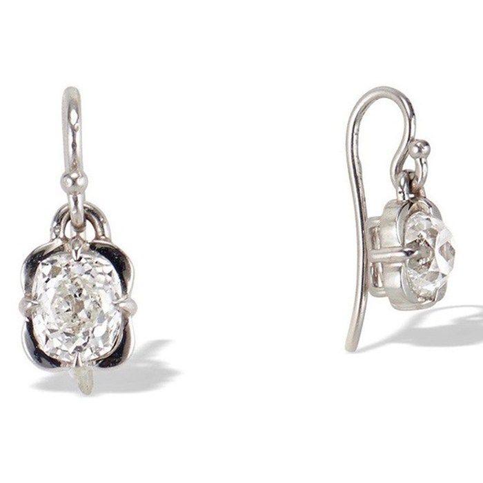 Popular Platinum Wedding Jewelry Trends: #6. Platinum Cushion Cut Clover Earrings; #diamondjewelry