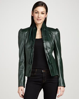 bagatelle laser cut lambskin jacket jade - Google Search    In Neiman Marcus catalog but not sure if it's on the site.  In the catalog it's a brighter, almost teal green.  Check the details around the collar.
