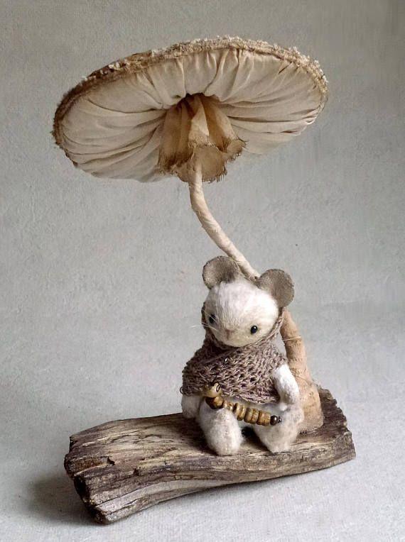 Artist teddy mouse friends teddy bear OOAK Collector Plush