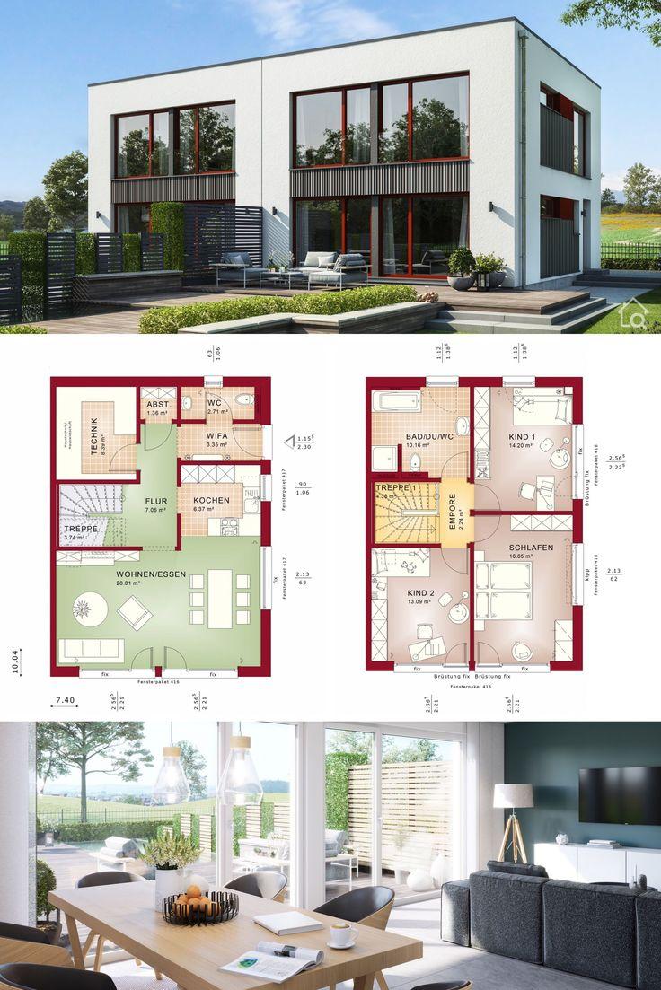 Doppelhaushälfte modern mit Flachdach Architektur, 4