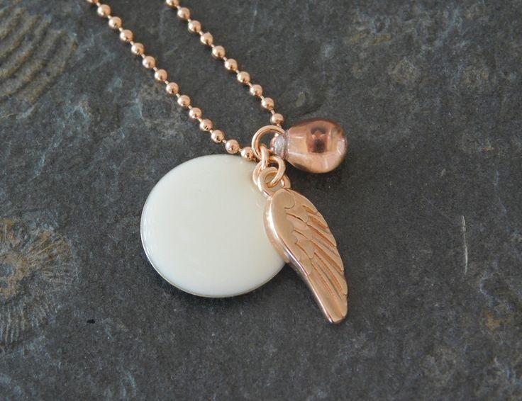 Ketten lang - *Apollo* lange Kette Roségold/Creme mit Flügel - ein Designerstück von mermaids_and_divas bei DaWanda