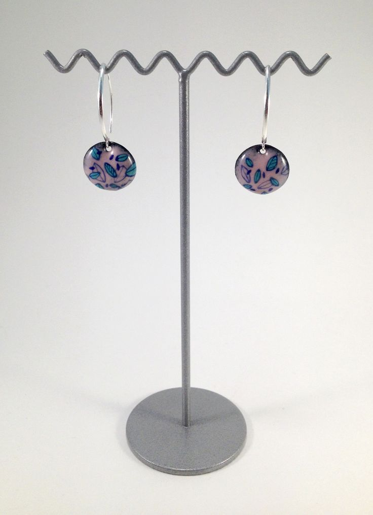 Boucles d'oreilles rose et verte monture en argent - Amandine Barry