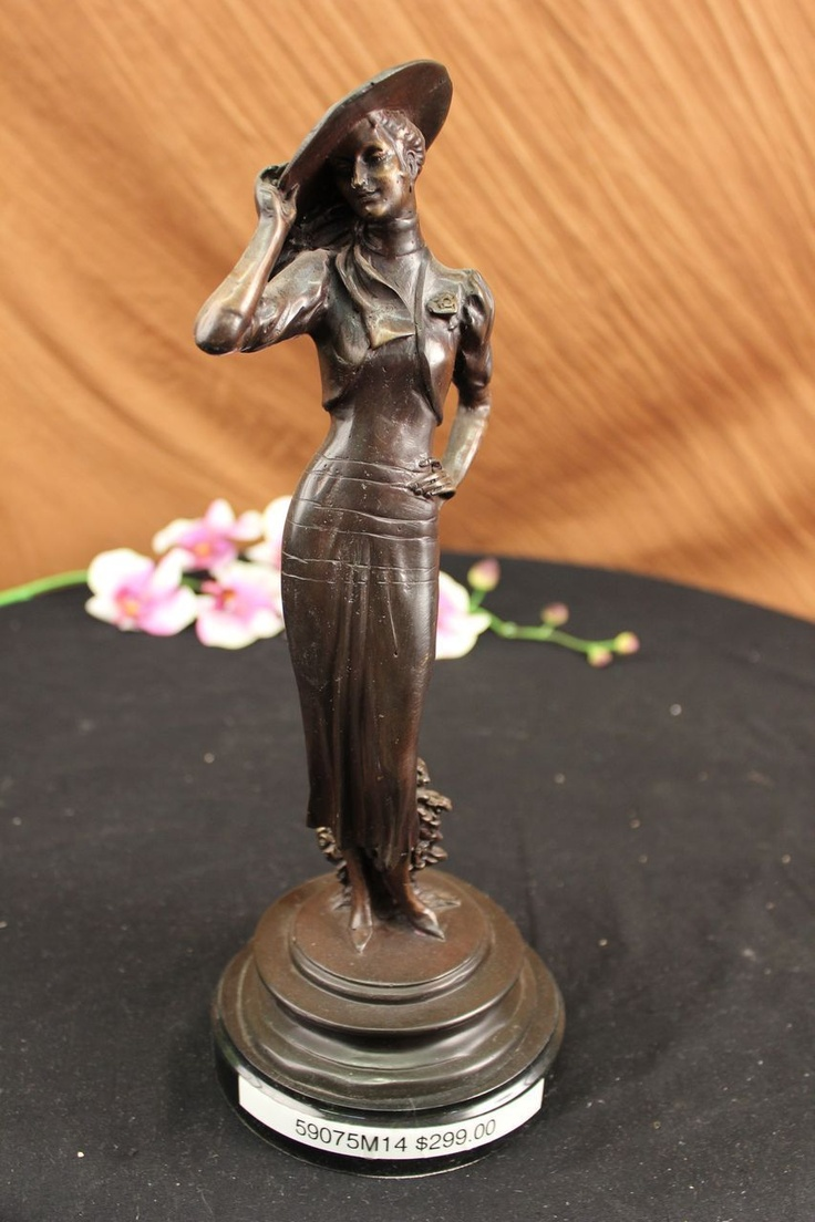 1940 Fashion Sexy Girl Bronze Sculpture Statue Art Deco