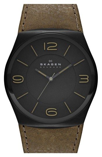 Skagen 'Studio' Round Leather Strap Watch, 42mm. available at #Nordstrom