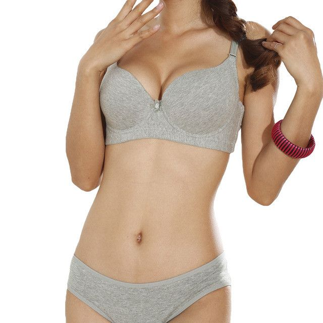 ANSELF Sexy Women B Cup Push Up Bra 3/4 Light Padded V-Neck Seamless Underwire Lingerie Underwear Sutian Intimates Blue Grey