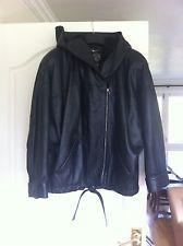 Luxury Black Leather Jacket, DERISHOW Brand, women's size 12-14 Smart Casual