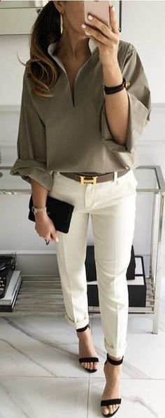Olive green blouse white pants high heel sandals