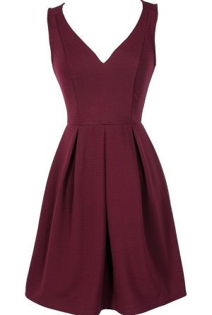 Meet The Parents Pleated A-Line Dress in Burgundy  www.lilyboutique.com