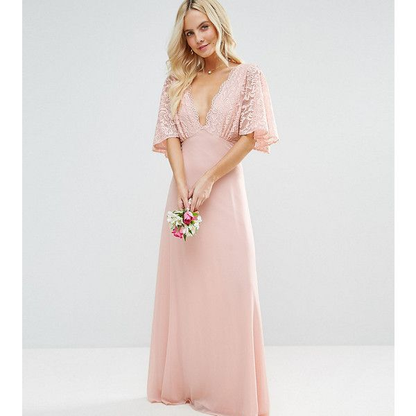 John Zack Petite Open Back Maxi Dress With Fluted Lace Sleeve ($30) ❤ liked on Polyvore featuring dresses, gowns, petite, pink, petite evening dresses, pink maxi dresses, petite dresses, pink ball gown and lace evening gowns