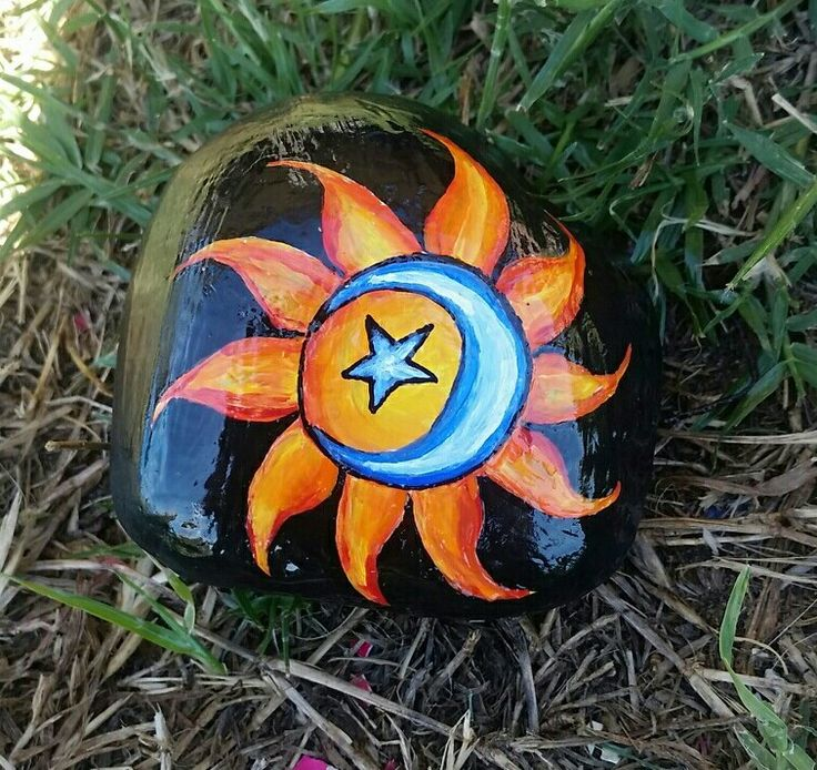 Sun moon star painted rock