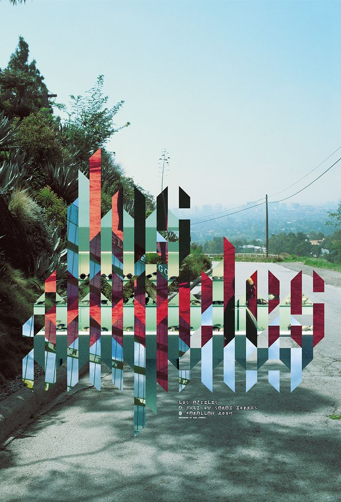 """Strips of overlapping images create a repitition of """"los angeles"""". Underneath the repeating los angeles reads """"LOS ANGELES A FILM BY SARAH MORRIS PARALAX 2004"""". Behind the text is a view of a bend in the road overlooking a city, presumably Los Angeles. To the left of the text are plants."""