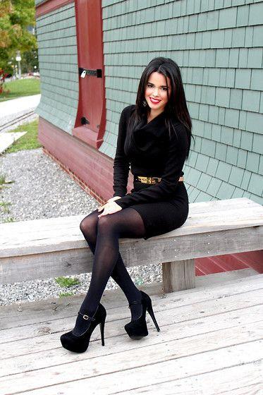 Miniskirt  Fashion, Sexy Legs, Black Sweater Dress-6361
