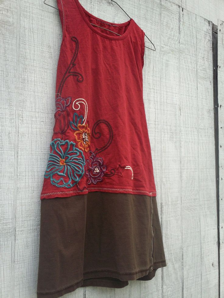 Reserved - Women's Dress / Red and Brown Dress / Eco Dress / Tattered Artsy…