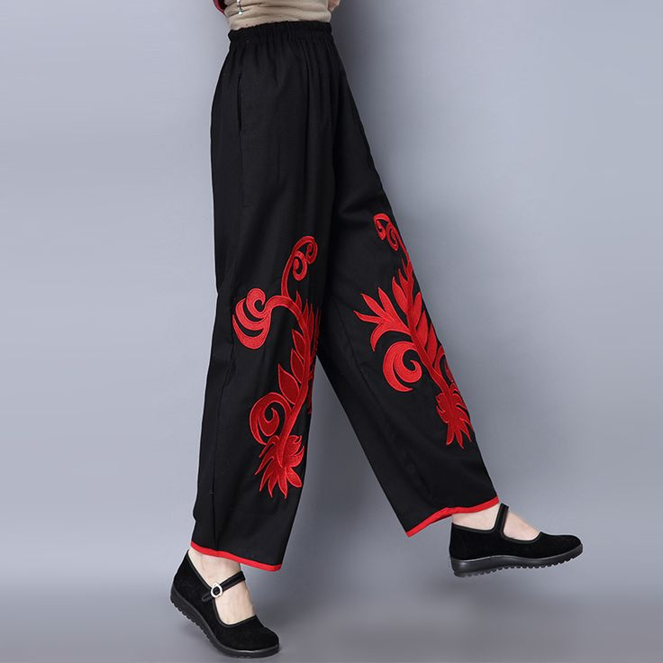 2017 New Fashion Casual Black Cotton Linen Pants Women Casual Loose Embroidery Wide Leg Pants Pantalones Y82