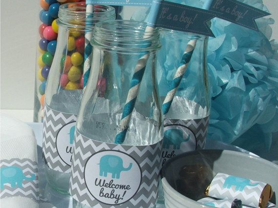 Elephant Baby Shower Decorations Aqua Gray Chevron Printable DIY Party Package on Etsy, $20.00