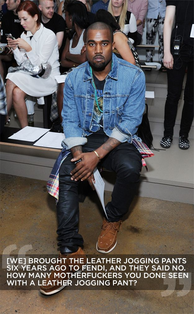 | Kanye West Claims That Leather Jogging Pants Were His Idea