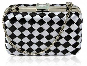Black Clutch Bags | Black and White Diamond chequered Hard Case Clutch Bag | PreciousBags