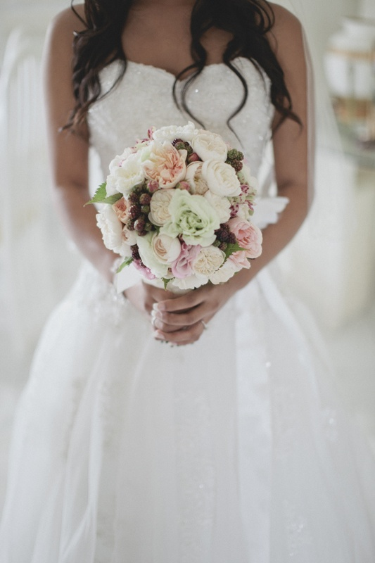 Peonies, David Austin roses and berry wedding bouquet image: Cavanagh Photography http://cavanaghphotography.com.au